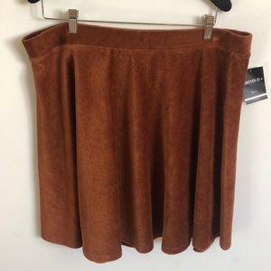 Brown corduroy plus size skater skirt